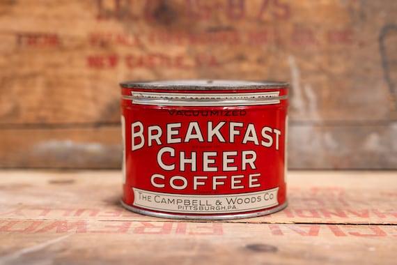 Vintage Breakfast Cheer Coffee Tin Dripco Red Black Kitchen Farmhouse Country Decor Advertising Container Storage Tin