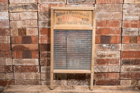 Vintage National Washboard Co. Atlantic No. 510 Wood Glass Washboard Red Black Farmhouse Washboard Advertising Country Laundry Decor