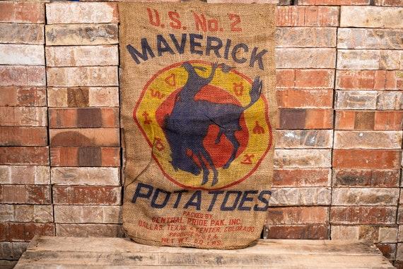 Vintage Maverick Potatoes Burlap Sack Rustic Primitive Farmhouse Country Advertising