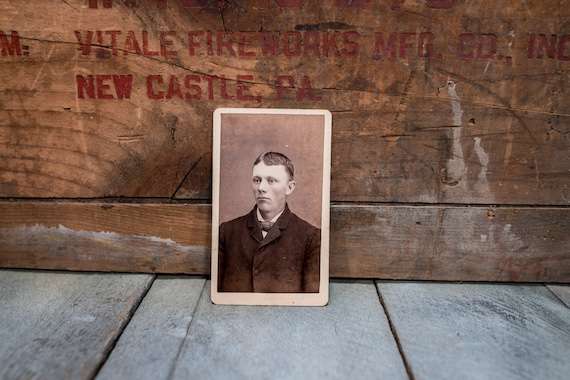 Antique Cabinet Card Photography Photo Young Man Photograph Photo Props
