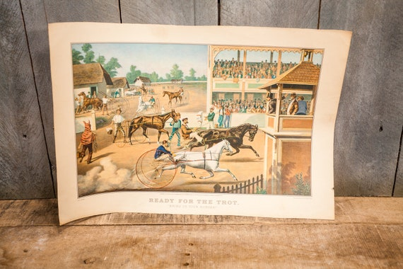 Vintage Ready For The Trot Bring Up Your Horses Litho L. Maurer Man Cave Hunting Fishing Cabin Rustic