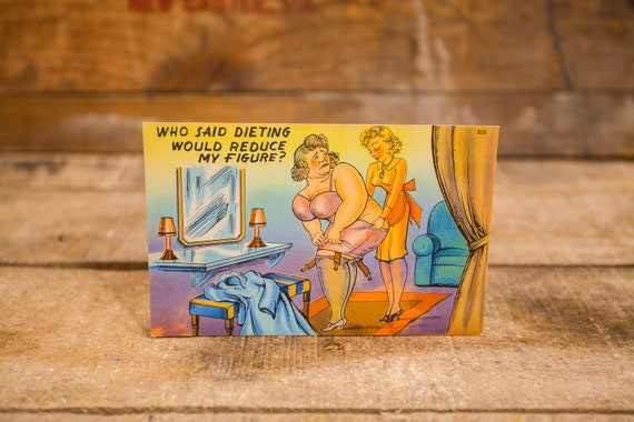 Vintage Comic Cartoon Postcard Novelty Humor Risque Cartoon Souvenir