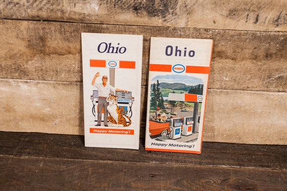 Vintage Humble Ohio Road Maps Lot Advertising Man Cave Garage Gas Oil Advertising
