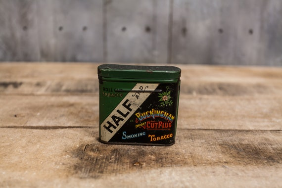 Vintage Half and Buckingham Bright Cut Plug Smoking Tobacco Tin Pipe Cigarette Rustic Tin