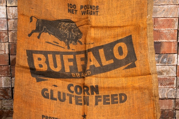 Vintage Buffalo Brand Burlap Corn Sack Rustic Primitive Farmhouse Country Advertising