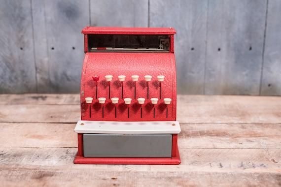 Vintage Tom Thumb Toy Cash Register Red White Nursery Kids Decor