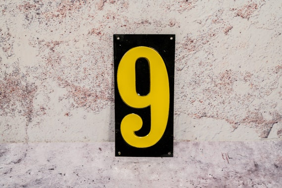 Vintage Metal Number Signs Gas Station Price Number Sign Black Yellow Man Cave Garage Car Decor Gas Automotive Decor