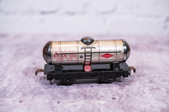 Vintage 1940s Marx Union Tank Car Co UTLX 553 Tin Train Toy Train Railroad Car
