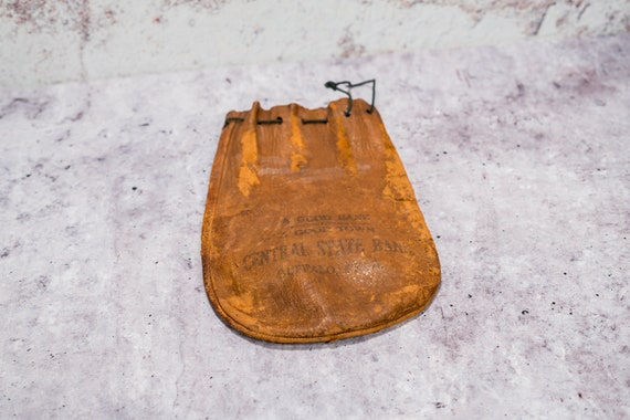 Vintage Leather Bank Bag Central State Bank Buffalo Oklahoma Money Bag Rustic Photography Theatre Prop