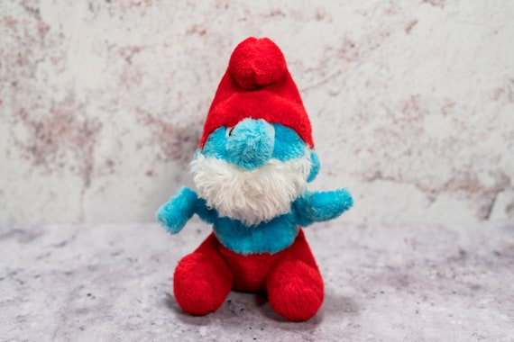 Vintage 1980s Papa Smurf Plush Stuffed Animal Toy Wallace & Berrie Toy Kids