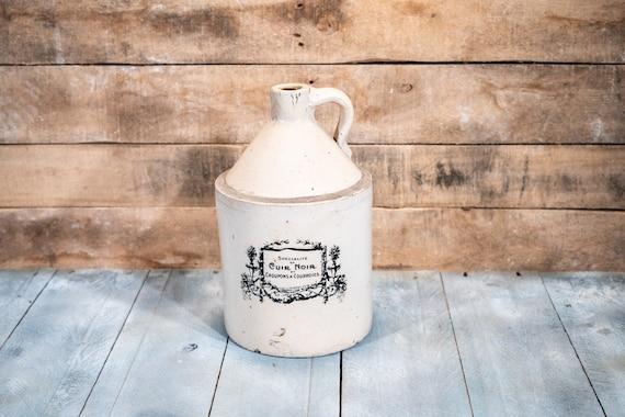 Vintage Specialite of Cuir Noir et Croupons a Courrois Pottery Crock Jug Flower Stoneware Glazed Farmhouse Country Kitchen Farm Decor