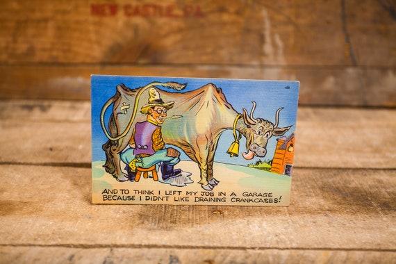 Vintage Comic Cartoon Postcard Novelty Humor Risque Cartoon Souvenir Farmer Cow