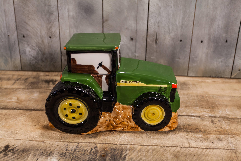 Vintage John Deere Tractor Ceramic Cookie Jar Treat Storage Jar