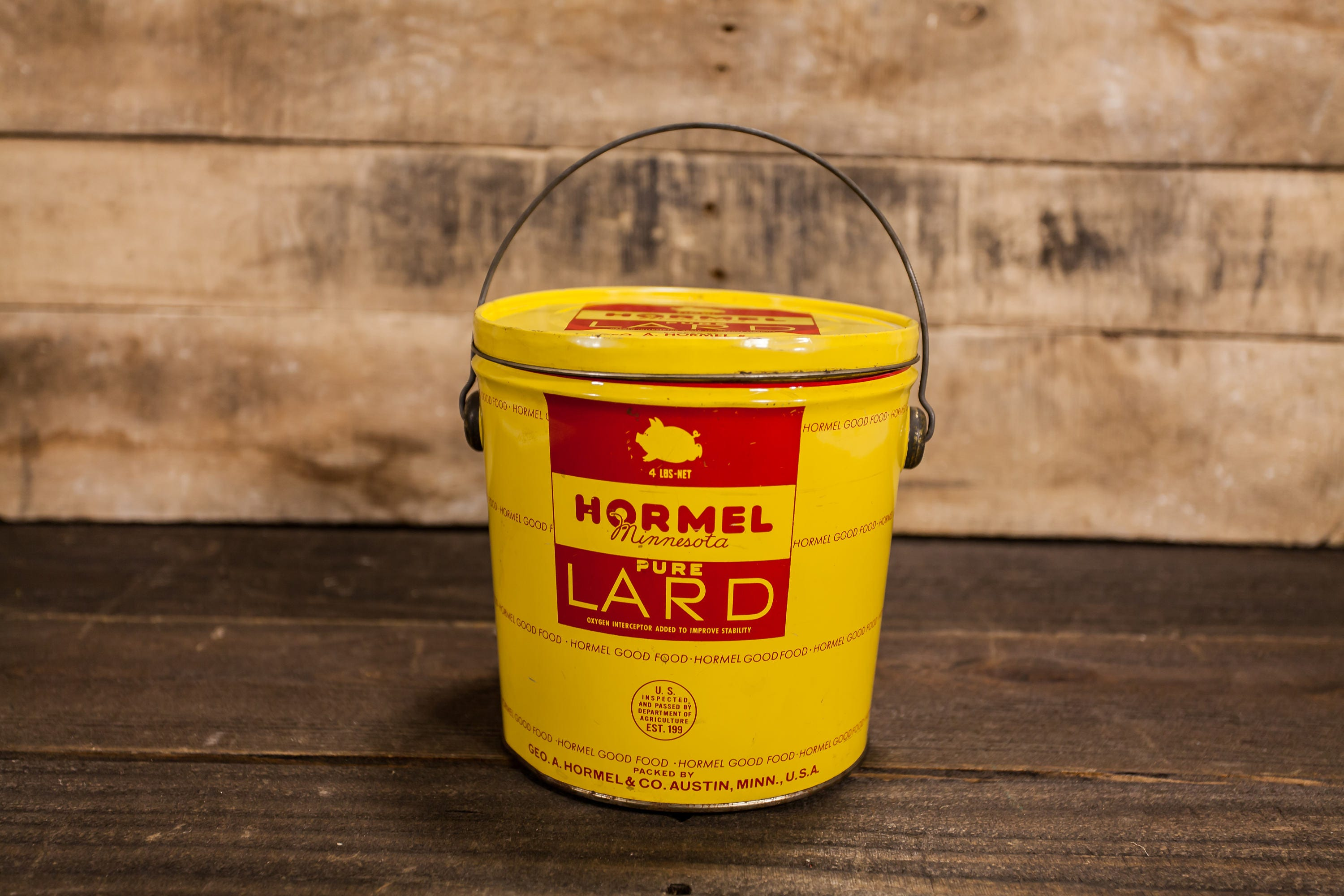 Vintage Hormel Pure Lard 4lbs Tin Red Yellow Kitchen Country Decor Advertising Container Storage Pig Minnesota