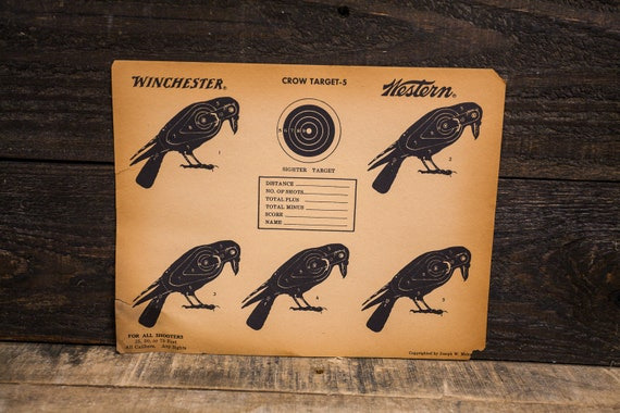 Vintage Winchester Western Crow Target Advertising Hunting Man Cave Cabin Decor