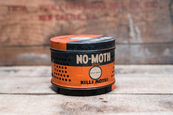 Vintage No Moth Solid Tin Can Reefer Galler Film Prop Advertising Rustic Farmhouse Country