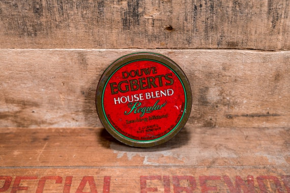Vintage Douwe Egberts Household Smoking Mixture Cigarette Tobacco Tin Country Farmhouse Man Cave Tobacciana Rustic