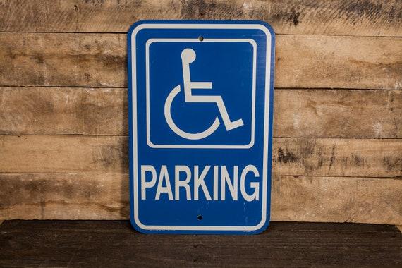 Vintage Handicap Parking Metal Street Sign Blue White Industrial Garage Man Cave