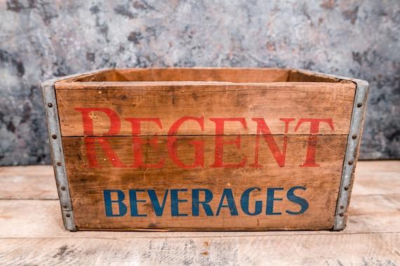 Vintage Regent Beverages Wooden Crate Regent Bottling Co. Pittsburgh PA Box Metal Rustic Carrier Blue Red