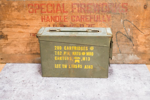 Vintage Military Ammo Box Green Yellow Ammunition Cartridge Box Rustic Man Cave Bullet Storage Rustic
