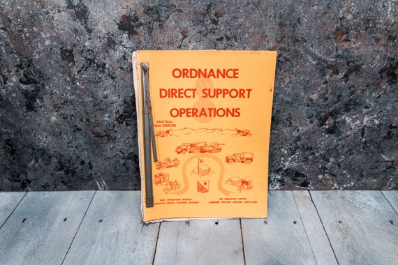 Vintage 1950s U.S. Army Ordnance School Manual Ordnance Direct Support Operations Man Cave War Soldier