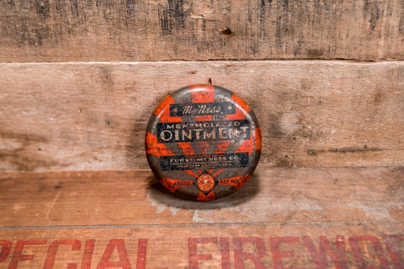 Vintage McNess Mentholated Ointment Tin Furst-McNess Co Rustic Collectable Tin Farmhouse Country Advertising Freeport Illinois