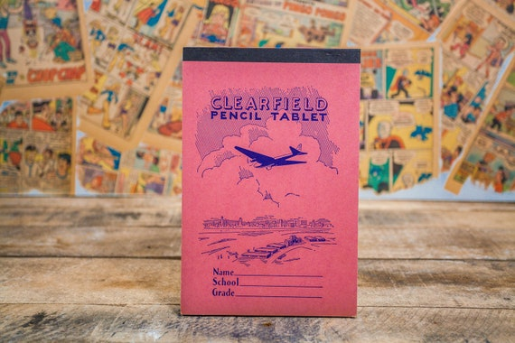Vintage Clearfield Pencil Tablet School Notebook Paper Pad Aviation Pink