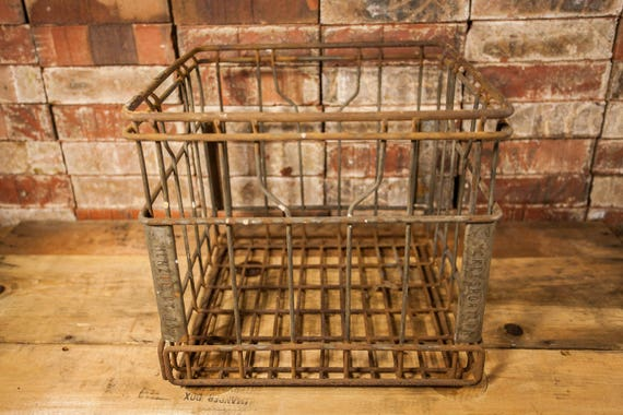 Vintage McKeesport PA Menzie Dairy Metal Wire Milk Crate Box Metal Bin Rustic Industrial Primitive Carrier Farmhouse Country