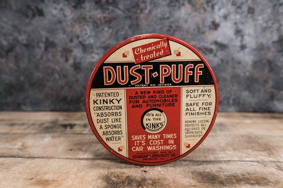 Vintage Dust-Puff Standard Specialty Co. Polish Car Washer Tin Advertising Red White Black Garage Man Cave Container Storage