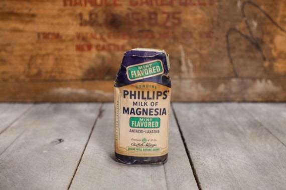 Vintage Phillips Milk of Magnesia Medicine Glass Bottle Mint Flavor Unopened Paper Label Chas. H. Phillips Advertising Pharmacy