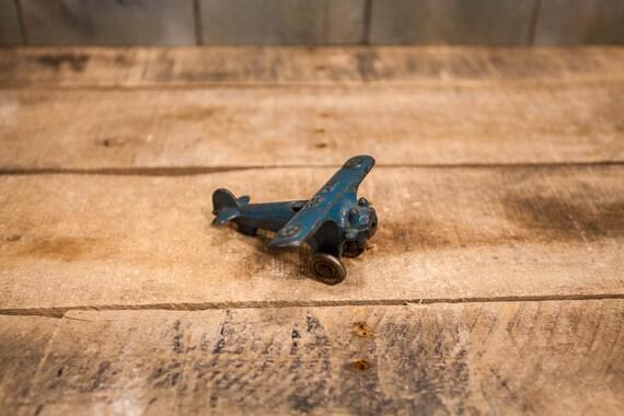 Vintage Hubley UX 33 Metal Blue Airplane Toy Kids Decor Nursery Playroom Man Cave Rustic Distressed