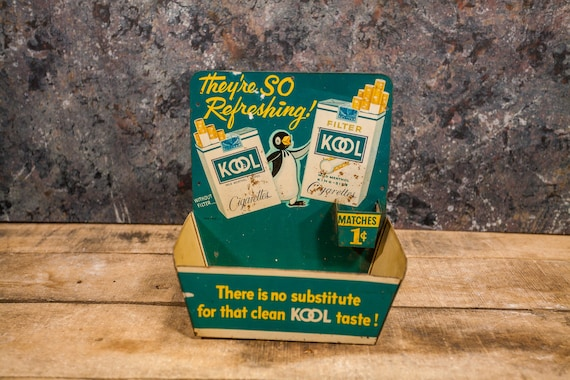 Vintage 1950s Kool Cigarette Store Display Tin Advertisement Sign Tobacco Penguin Matches Counter Display Man Cave