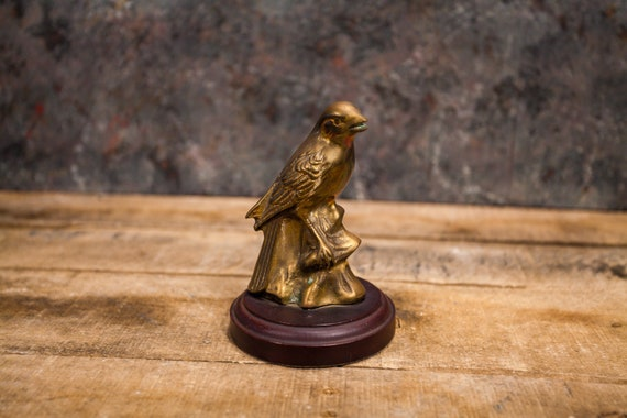 Vintage Brass Bird Statue Home Decor Bird Figure Rustic Shelf Decor