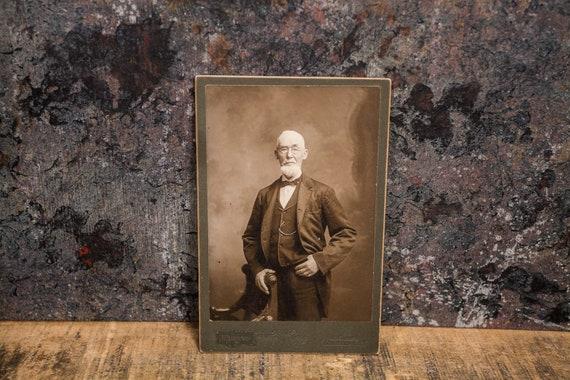 Antique Cabinet Card Photography Man Photo Harding Photograph Photo Props Binghamton NY