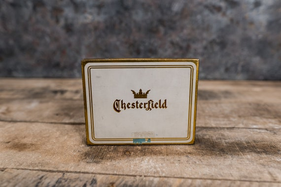 Vintage Chesterfield Tobacco Tin, Hinged White and Gold Cigarette Tin Box Advertising