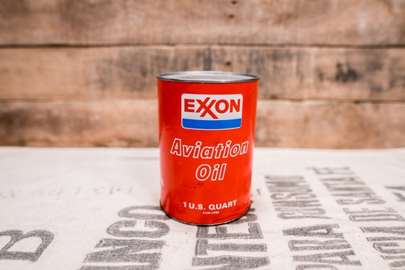 Vintage Full Exxon Aviation Oil Composite Can Airplane US Quart Lubricating Lube Advertising Man Cave Garage Oil Decor Exxon Company