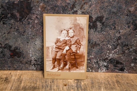 Antique Cabinet Card Photography Little Boys Brothers Photo Whitehead Photograph Photo Props