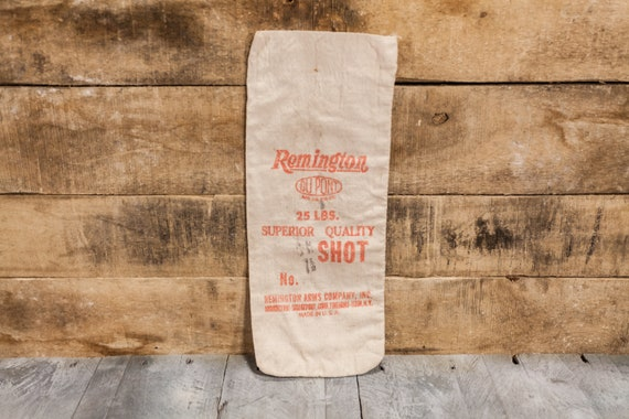 Vintage Remington Superior Quality Shot Canvas Bag 25lbs Hunting Decor Man Cave Rustic Bag Red Hunting Camp Cabin