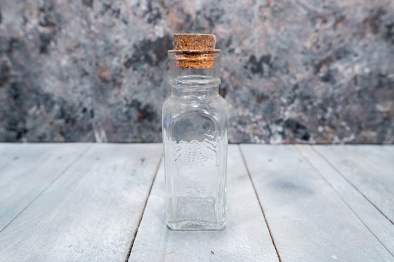 Vintage Pure Honey 1 Pound Glass Bottle Embossed Glass Bottle Jar Bee Hive Kitchen Decor Cork