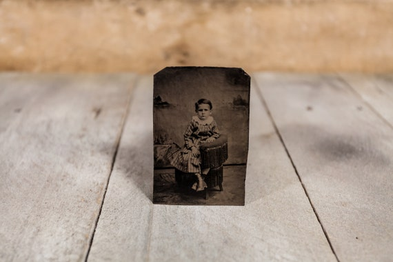 Antique Tintype Photography Little Boy Siblings Photo Tintype Photograph Photo Props