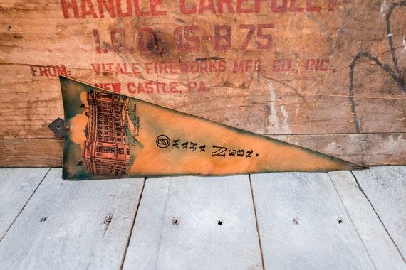 Vintage Omaha Nebraska Leather Pennant Travel Souvenir Banner Flag Man Cave Rustic Indian Native American