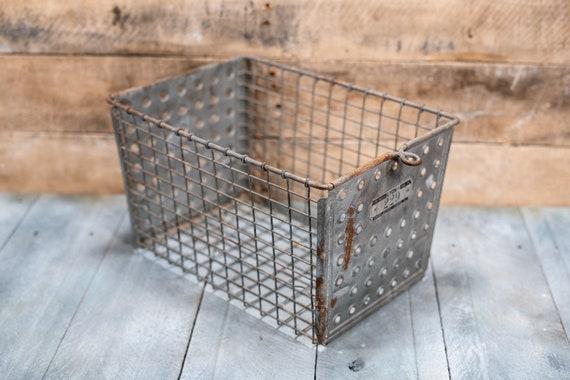 Vintage Lyon Wire Basket Number 229 Metal Locker Storage Basket Farmhouse Country Kitchen Farm Laundry Room Decor
