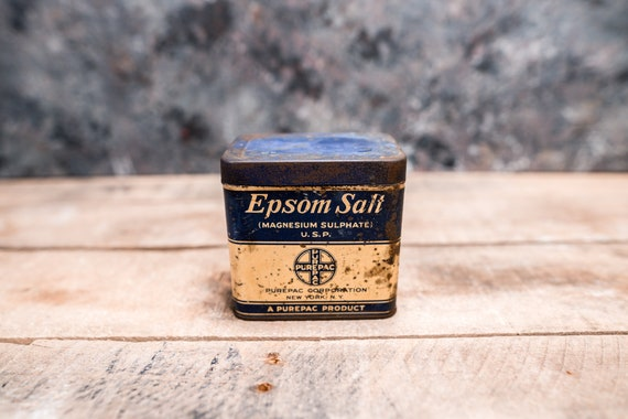 Vintage Epsom Salt Tin Rustic Collectable Tin Farmhouse Country Collectable PurePac Corp New York NY