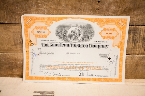 Vintage 1960s The American Tobacco Company Stock Certificate 100 Shares Ephemera