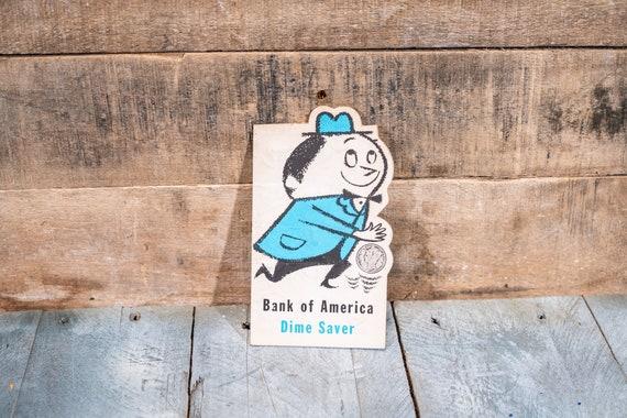 Vintage Unused Dime Saver CoinHolder Bank of America Promotional Savings Advertising Ephemera