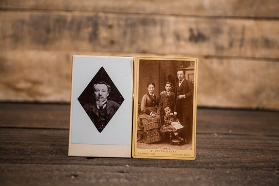 Antique Lot of 2 Cabinet Cards Photography Family Man Photograph Photo Props
