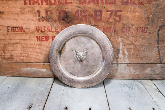 Vintage Fox Plate Trophy Award Dish Man Cave Rustic