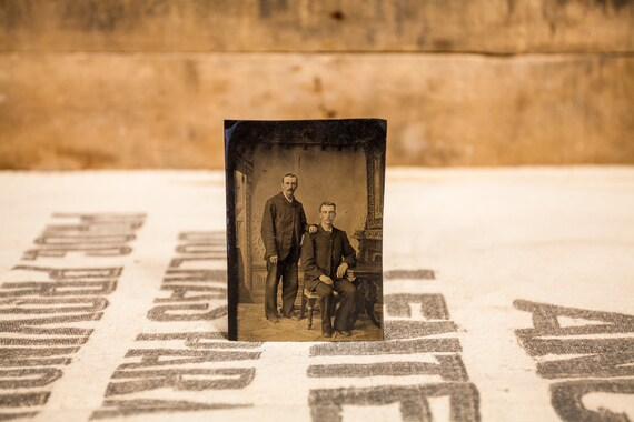 Antique Tintype Photography Men Brothers Siblings Photo Tintype Photograph Photo Props