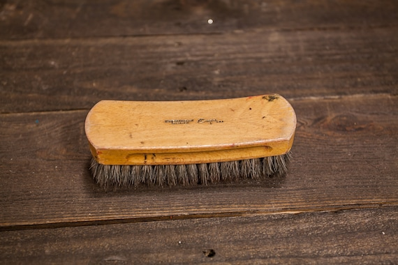 Vintage Empire Shoe Shine Brush Wood Brush Rustic Polish Brush Man Cave Horsehair