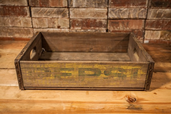 Vintage Pepsi Soda Pop Wooden Crate Primitive Box Carrier Blue Yellow Wooden Metal Rustic Distressed